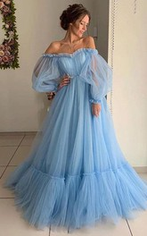 Tulle Floor-length Brush Train Ball Gown Long Sleeve Ethereal Prom Dress with Ruffles