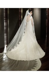 Long Soft Tulle Bridal Veil with Lace Appliques