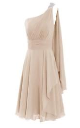 One-shoulder Short Tiered Dress With Pearled Shoulder
