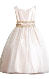 Sleeveless Scoop-neck Dress With Beadings and Pleats