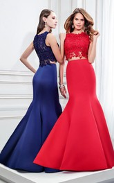 Mermaid Sleeveless Jewel Neck Appliqued Satin Prom Dress