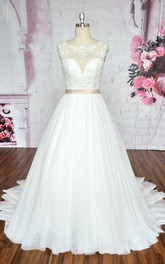 Sleeveless A-line Ballgown Tulle Wedding Dress With Illusion Neckline And Deep V-back