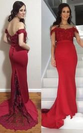 Trumpet Off-the-shoulder Lace Satin Dress with V-back