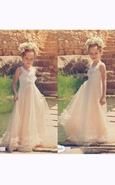 Flower Girl V-neck A-line Tulle Gown With Appliques And Tiers