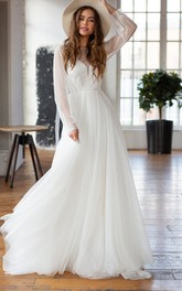 Chiffon Floor-length Court Train A Line Long Sleeve Elegant Wedding Dress
