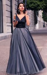Satin Tulle Floor-length A Line Sleeveless Elegant Formal Dress with Bow