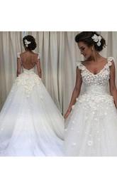 V Neck 3D Flower Applique Backless Sweep Train Spring Garden Bridal Gown