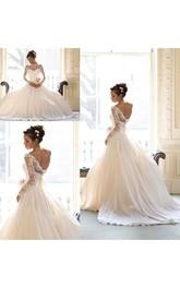 Elegant Lace A-line Bowknot 2018 Wedding Dress Court Train Long Sleeve