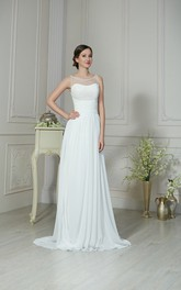 A-Line Maxi Scoop-Neck Sleeveless Lace-Up Chiffon Dress With Pleatings And Beading