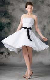 Strapless Knee-Length Chiffon Ribbon and Dress With Ruching