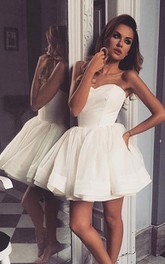 Satin Tulle Mini Ball Gown Sleeveless Sexy Homecoming Dress