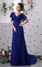 Chiffon V-Neck Caped Sleeve Sheath Dress With Brush Train