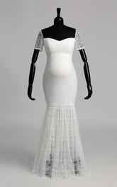Mermaid Off-the-shoulder Illusion Short Sleeve Floor-length Lace Maternity Wedding Dress