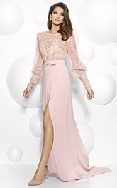 Maxi Puff-Sleeve Scoop-Neck Appliqued Jersey Mother Of The Bride Dress With Split Front