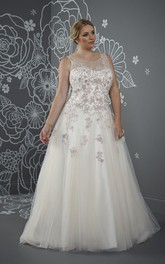 Ball Gown Floor-Length Scoop Neck Sleeveless Tulle Court Train Lace-Up Back Beading Dress