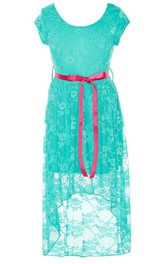 Short-sleeved High-low Lace Dress With Sash