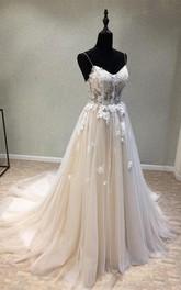 Sexy Garden Style Tulle A-line Spaghetti Sleeveless Corset Back Wedding Dress