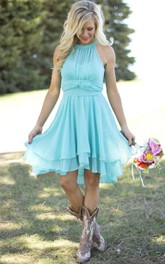 Empire Mini Scoop Sleeveless Pleats Chiffon Dress