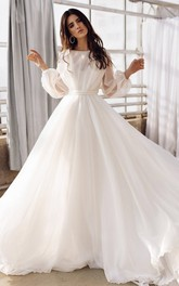 Bohemian Bateau A Line Floor-length Sweep Train Long Sleeve Wedding Dress With