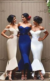 Mermaid Off-the-shoulder Sleeveless Satin Dress with Low V-back