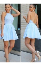 A-line Sleeveless Chiffon Lace Halter Straps Cross Back Short Mini Homecoming Dress