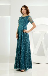 Embroidered Short-Sleeve Long Dress With Illusion Top