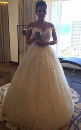 Glamorous Princess Sequined Tulle Wedding Dress 2018 Lace Appliques Off-the-shoulder