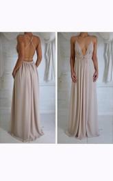 Sleeveless V-neck Long Chiffon Dress with Pleats
