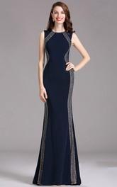 Sheath Bateau Sleeveless Jersey Beading Illusion Dress