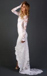Long Sleeve Chapel Train Lace Dress With Appliques Flower