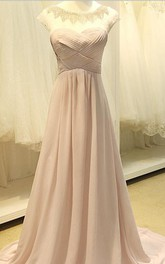 Maxi Scoop Ruched Keyhole Chiffon Dress with Beadings