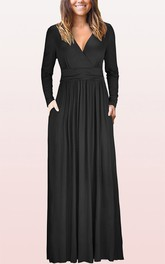 Ethereal Jersey V-neck A Line Guest Formal Dress With Pockets