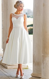 A-Line Tea-Length Sleeveless Jeweled Scoop Neck Satin Wedding Dress