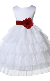 Cap-sleeved Tiered A-line Dress With Flower