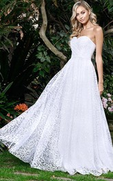 Simple A Line Sweetheart Lace Floor-length Sleeveless Wedding Dress with Ruching