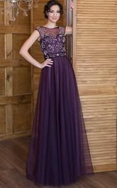 A-Line Floor-Length Bateau Short Sleeve Tulle Beading Pleats Lace-Up Dress