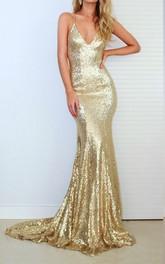 Sequins Floor-length Court Train Mermaid Sleeveless Modern Formal Dress