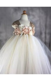 Flower Girl Cap Sleeve Empire Tulle Ball Gown With Flowers and Bow