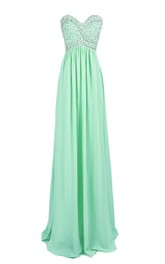 Strapless Sweetheart Rhinestoned A-line Gown With Zipper Back