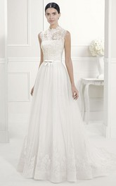 Lace High Neck A-Line Pleated Tulle Bridal Gown With Bow