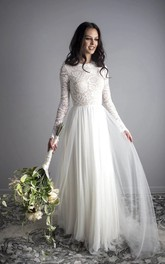 Ethereal Illusion Open Back Lace Long Sleeve A-line Wedding Gown