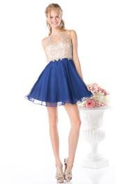 A-Line Short Jewel-Neck Sleeveless Illusion Dress With Beading