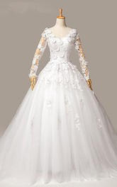 Gorgeous Long Sleeve Appliques Tulle Wedding Dresses 2018 Ball Gown Lace-up