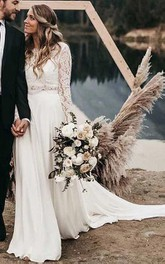 Satin Lace Floor-length Chapel Train Two Piece Long Sleeve Vintage Wedding Dress