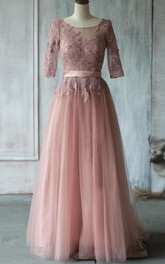Scoop Neck Half Sleeve Pleated A-line Tulle Long Dress With Lace Up