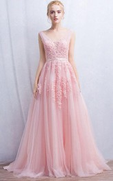 Sleeveless V-neck Long Appliques Tulle Dress