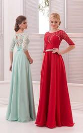 A-Line Floor-Length Jewel Half Sleeve Chiffon Lace Pleats Keyhole Dress