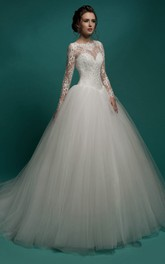 A-Line Maxi Jewel-Neck Illusion-Sleeve Zipper Tulle Dress With Pleatings