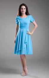 Square-Neck Knee-Length Short Sleeve Dress With Pleating