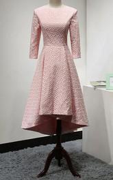 3-4 Sleeve High-low Jewel-Neck Dress